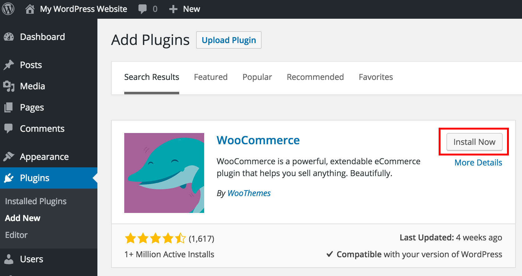 Install Wocommerce Plugin in WordPress